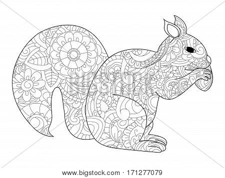 Vector illustration of the Squirrel with nut in zendoodle and ethnic style. Tattoo, coloring page, t-shirt, card, poster, print design. Black and white lines. Lace pattern rodent