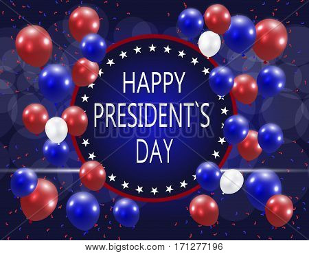 Presidents' Day. Greeting card. The inscription with the wishes of happiness on a background of balloons. Vector illustration