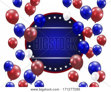 Translucent balloons on a white background. Place for an inscription. Stylized ph in US colors. Vector illustration