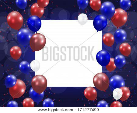Balloons on a blue background. Place for an inscription. Stylized in US colors. Vector illustration
