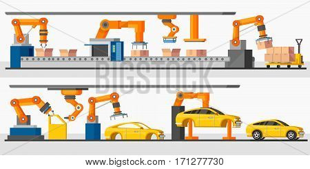 Industrial automation robot horizontal banners with automated packing and machinery production processes vector illustration