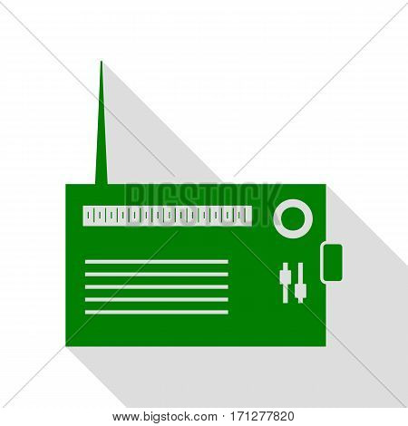 Radio sign illustration. Green icon with flat style shadow path.