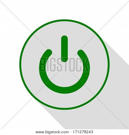On Off switch sign. Green icon with flat style shadow path.