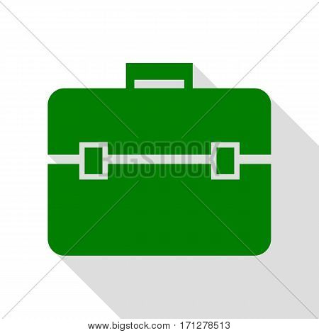 Briefcase sign illustration. Green icon with flat style shadow path.