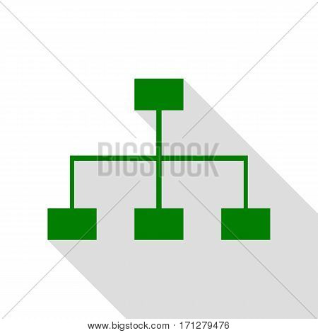 Site map sign. Green icon with flat style shadow path.