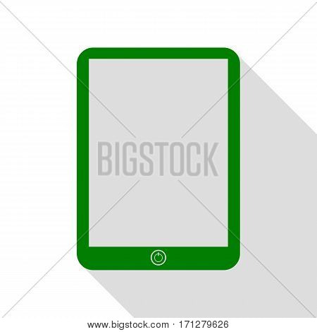 Computer tablet sign. Green icon with flat style shadow path.