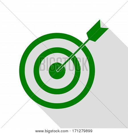 Target with dart. Green icon with flat style shadow path.
