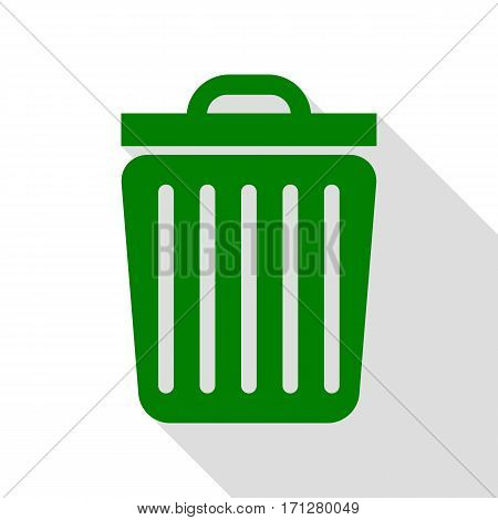 Trash sign illustration. Green icon with flat style shadow path.
