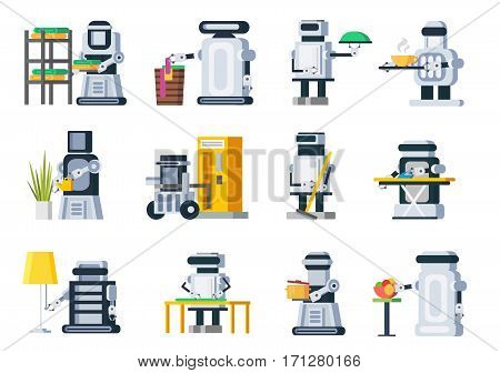 Artificial intelligence robots set with robotic assistants helping people in housework duties isolated vector illustration