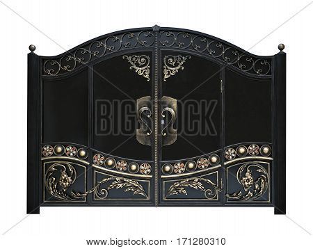 Strong gate in old stiletto. Isolated over white background.