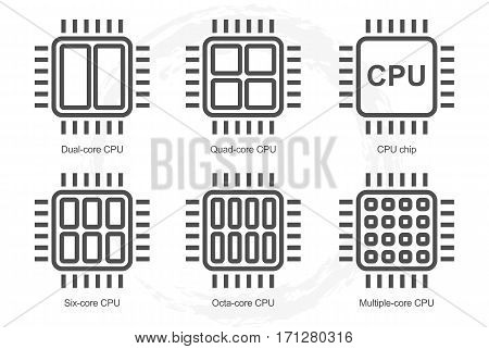 Processor Icon Set. Dual Quad Six Octa core cpu icons. Multi-core processor line icon. Main element of computer. Vector illustration.