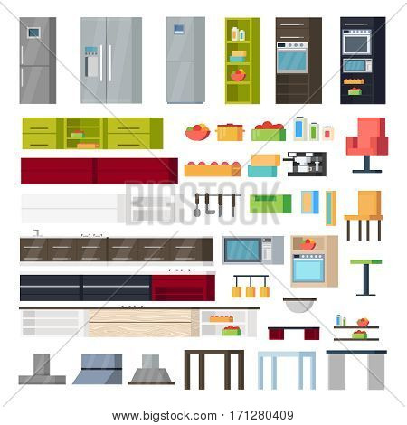 Kitchen interior elements collection with furniture accessories utensils appliances and equipment isolated vector illustration