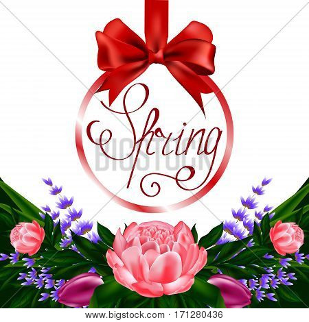 Vector spring illustration with a bouquet of flowers of peonies, tulips, lavender and herbs and hanging round a card on a satin red ribbon with a bow