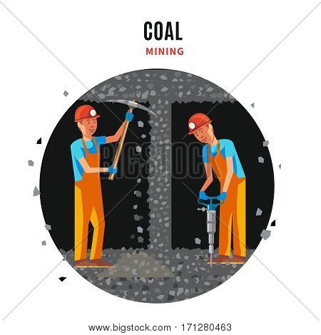 Coal extraction flat template with working miners in uniform holding pick and drill vector illustration
