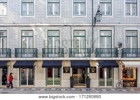 Lisbon, Portugal.- January 11,2016: Traditional old buildings on January 11,2017. Beautiful street view of historic architectural in Lisbon, Portugal, Europe