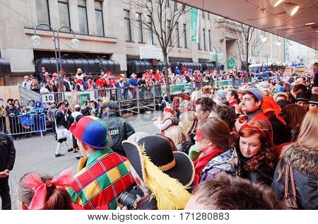 Cologne,North Rhine-March 3, 2014 : .more than one million spectators on the streets.Carnival parade on March 3, 2014 in Cologne,Germany.