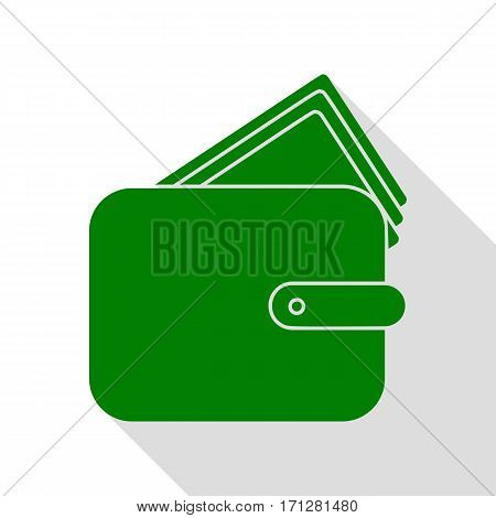 Wallet sign illustration. Green icon with flat style shadow path.