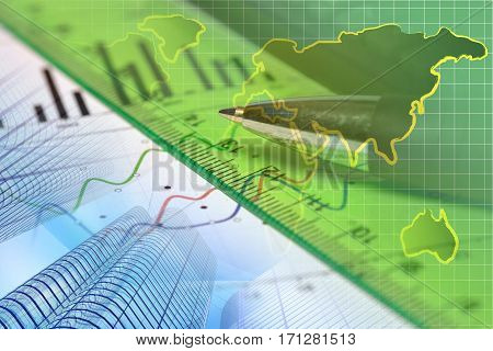 Financial background with map ruler graph and pen.