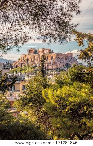 Parthenon Temple With Spring Trees On The Acropolis In Athens, Greece