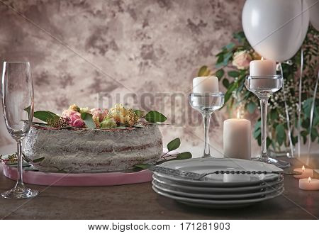 Table served for Birthday dinner in living room