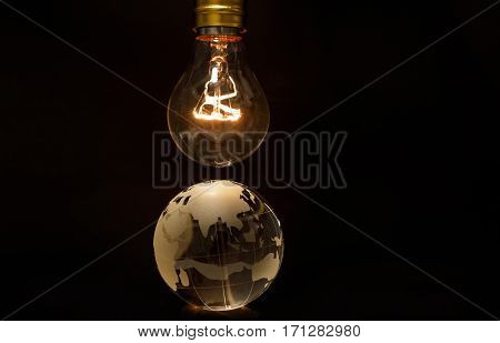 Light bulb and earth concept of global issues Asia China