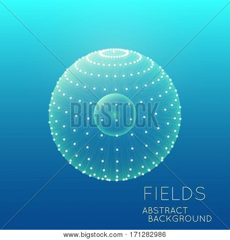 Science concept design. Physical forces, fields. Inner and outer spheres. Global Digital Connections. Abstract Globe Grid. Abstract 3D Grid Design. 3D Technology Style. Networks.