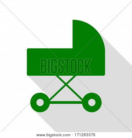 Pram sign illustration. Green icon with flat style shadow path.