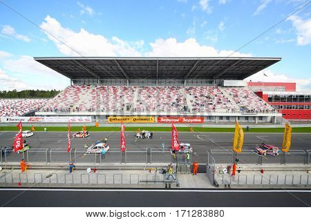 MOSCOW - SEP 3, 2016: Cars wait start at Race of Stars At wheel Magazine at Moscow Raceway