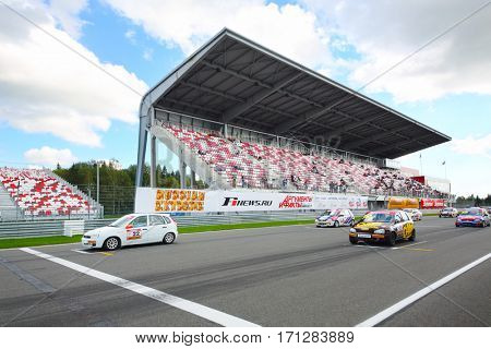 MOSCOW - SEP 3, 2016: Cars ride at Race of Stars At wheel Magazine at Moscow Raceway