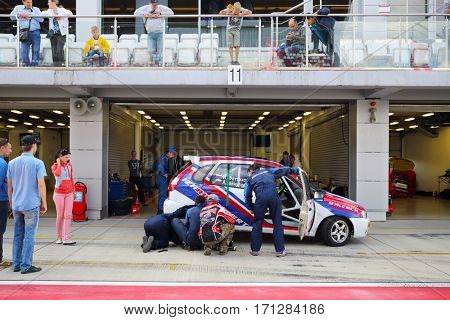 MOSCOW - SEP 3, 2016: Car service during Race of Stars At wheel Magazine with participation of best Russian riders at Moscow Raceway