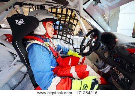 MOSCOW - SEP 3, 2016: Driver Gaynulin in car during Race of Stars At wheel Magazine with participation of best Russian riders at Moscow Raceway