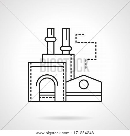 Industrial architecture and buildings. Abstract symbol of ironworks plant. Flat black line vector icon.