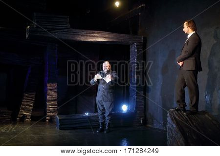 MOSCOW - OCT 13, 2016: Two actors are on stage during Dancings Performance in Modern theater