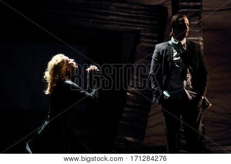 MOSCOW - OCT 13, 2016: Appealing actress and actor on stage during Dancings Performance in Modern theater