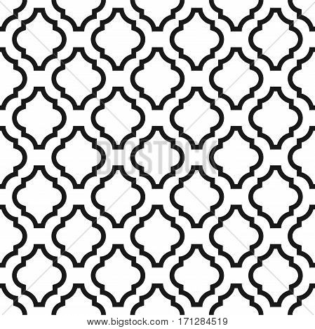 Black and white classic ornament seamless vector pattern. Monochrome geometric abstract repeat background.