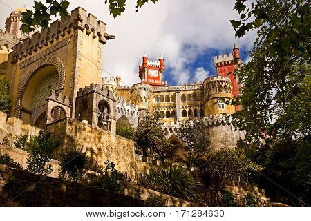 The Pena National Palace: summer residence of the monarchs of Portugal during the 18th-19th century. Near Sintra, Portugal. Main entrance.