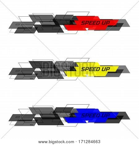 Set of Speed design concept consists of filled and contoured rectangles. Black and yellow, blue, red on white background. Design for banner, web. Vector illustration.