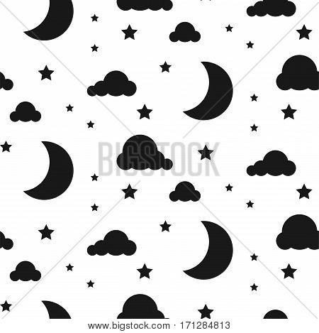 Black and white background. Starlight moon night seamless kid vector pattern. Monochrome toddler style textile fabric cartoon scandinavian ornament.