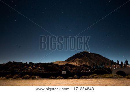 Night Sky Landscape at volcano Teide in Tenerife Spain