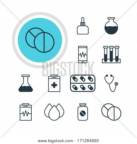 Vector Illustration Of 12 Medical Icons. Editable Pack Of Phone Monitor, Treatment, Flask And Other Elements.