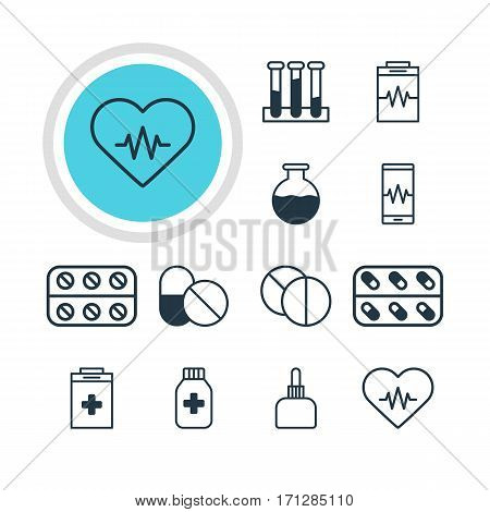 Vector Illustration Of 12 Medical Icons. Editable Pack Of Vial, Phone Monitor, Medicament Pitcher And Other Elements.