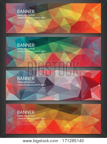 Polygonal banners with abstract multicolored mosaic background. Vector.