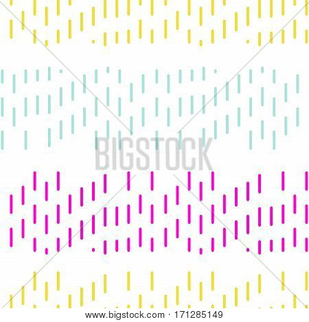 Simple dashed stitch embroidery vector seamless pattern. Fine neon lines on white background.