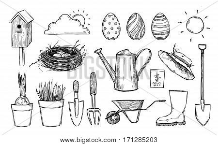 Hand drawn vector illustration. Garden collection (birdhouse nest tools seeds seedlings watering can gumboots). Spring icons in sketch style. Perfect for invitations greeting cards blogs posters and more