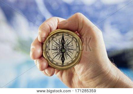 Compass navigation in mountains by a lake