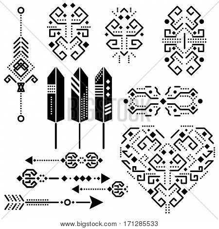 Tribal aztec vector stencil elements. Tribal arrows, feathers and heart graphic black on white illustration.