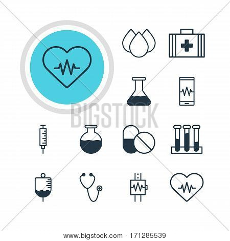Vector Illustration Of 12 Health Icons. Editable Pack Of Pulse, Trickle, Antibiotic And Other Elements.