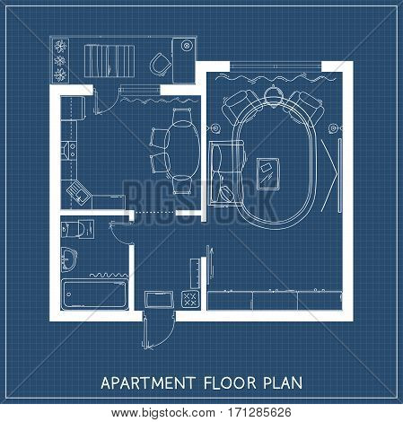 One bedroom apartment with hand-drawn furniture in top view. Architectural plan. Vector illustration