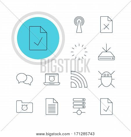 Vector Illustration Of 12 Web Icons. Editable Pack Of Router, Delete Data, Talking And Other Elements.
