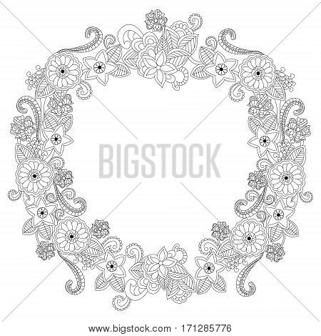 Floral hand drawn vertical frame oval in zendoodle inspired style isolated on white background. Doodle flowers decorative border circle. Coloring book for adult and children. Editable vector